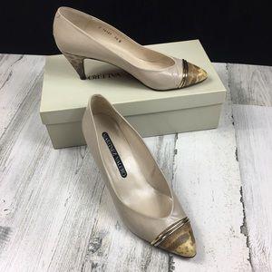 Vintage Martinez Valero Snakeskin Cap Toe Heels